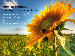 How to Achieve Lasting Impact at Scale