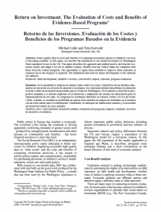 Evaluation of Costs and Benefits of Evidence-Based Programs
